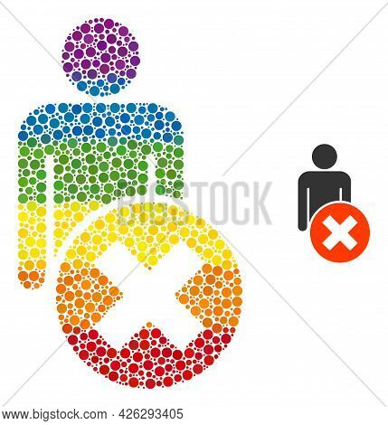 Delete Man Composition Icon Of Spheric Dots In Different Sizes And Spectrum Bright Color Hues. A Dot