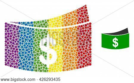 Dollar Bills Collage Icon Of Round Dots In Different Sizes And Spectrum Color Tones. A Dotted Lgbt-c