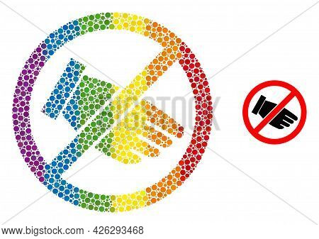 No Hand Composition Icon Of Filled Circles In Various Sizes And Rainbow Colored Shades. A Dotted Lgb