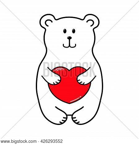 Teddy Bear With A Red Heart. Valentine's Day. Declaration Of Love. Vector Hand Drawn Illustration. F