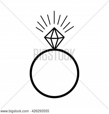 Diamond Ring. Wedding Ring. Valentine's Day. Declaration Of Love. Vector Hand Drawn Illustration. Fo