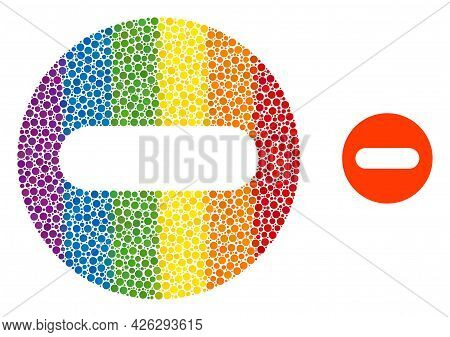 Remove Collage Icon Of Round Items In Different Sizes And Spectrum Colored Shades. A Dotted Lgbt-col