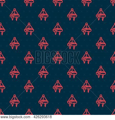 Red Line Plant In Hanging Pot Icon Isolated Seamless Pattern On Black Background. Decorative Macrame