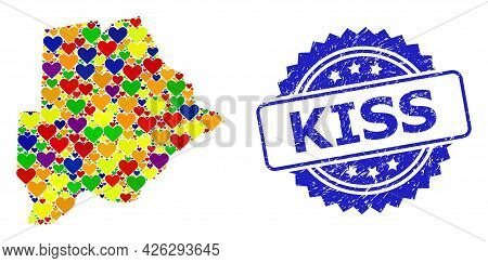 Blue Rosette Distress Seal Stamp With Kiss Title. Vector Mosaic Lgbt Map Of Botswana With Love Heart