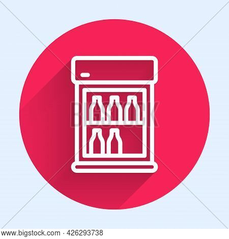 White Line Commercial Refrigerator To Store Drinks Icon Isolated With Long Shadow. Perishables For S