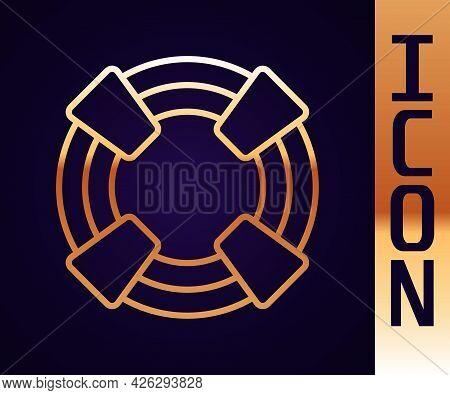 Gold Line Lifebuoy Icon Isolated On Black Background. Lifebelt Symbol. Vector