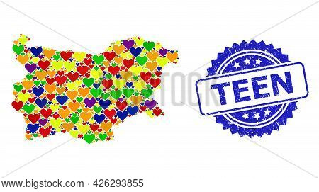 Blue Rosette Grunge Stamp With Teen Caption. Vector Mosaic Lgbt Map Of Bulgaria With Love Hearts. Ma