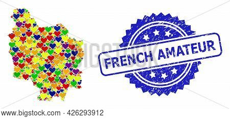 Blue Rosette Distress Seal With French Amateur Text. Vector Mosaic Lgbt Map Of Burgundy Province Fro