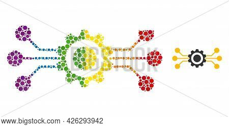 Hitech Gear Composition Icon Of Circle Spots In Various Sizes And Spectrum Color Hues. A Dotted Lgbt