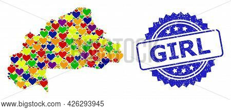 Blue Rosette Rubber Watermark With Girl Title. Vector Mosaic Lgbt Map Of Burkina Faso With Lovely He
