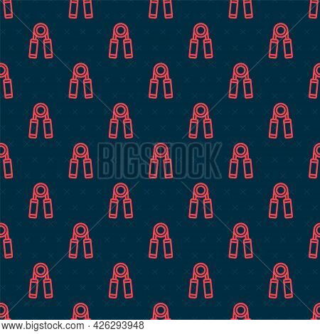 Red Line Sport Expander Icon Isolated Seamless Pattern On Black Background. Sport Equipment. Vector