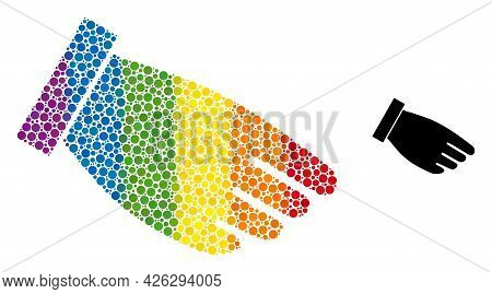 Hand Palm Composition Icon Of Spheric Blots In Variable Sizes And Rainbow Colored Color Hues. A Dott