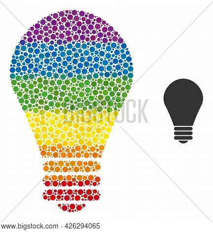 Lamp Bulb Collage Icon Of Spheric Dots In Different Sizes And Rainbow Color Hues. A Dotted Lgbt-colo