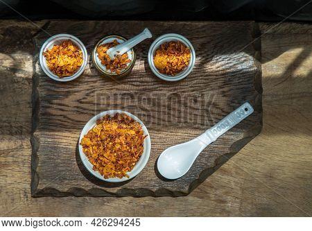 Dried Chilli Paste With Crispy Shrimp Thai Style Or Crispy Shrimp Chilli Paste In Ceramic White Cup