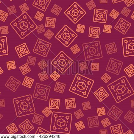 Brown Line Geometric Figure Cube Icon Isolated Seamless Pattern On Red Background. Abstract Shape. G