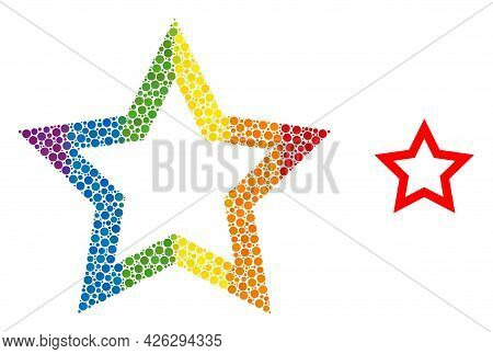 Contour Star Mosaic Icon Of Round Items In Various Sizes And Spectrum Colored Color Tinges. A Dotted