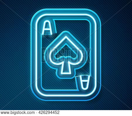 Glowing Neon Line Playing Cards Icon Isolated On Blue Background. Casino Gambling. Vector