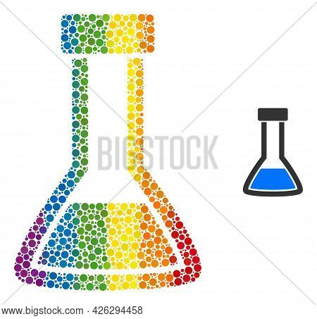 Closed Retort Collage Icon Of Round Dots In Various Sizes And Rainbow Colored Shades. A Dotted Lgbt-