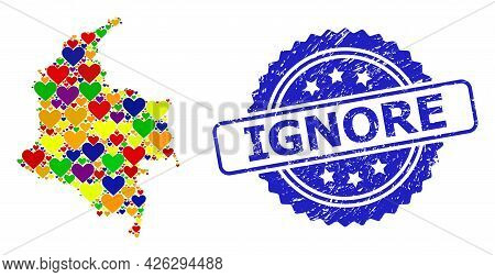 Blue Rosette Distress Seal Imprint With Ignore Title. Vector Mosaic Lgbt Map Of Colombia With Love H