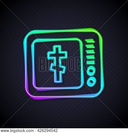 Glowing Neon Line Online Church Pastor Preaching Video Streaming Icon Isolated On Black Background.