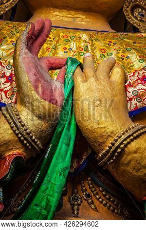Hands of Maitreya Buddha in Tsemo gompa. Leh, Ladakh, India
