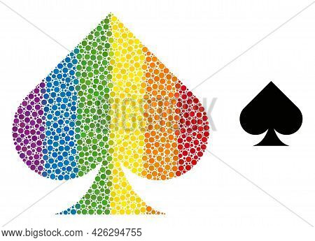 Playing Card Spade Suit Mosaic Icon Of Filled Circles In Various Sizes And Rainbow Colored Color Hue