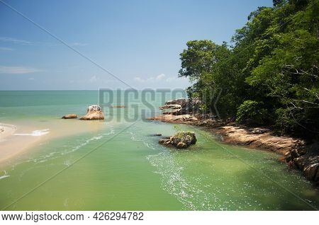 The Coastline With The Penang National Park Overlooking The Straits Of Malacca, On A Sunny Day In Ma