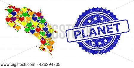 Blue Rosette Rubber Stamp With Planet Phrase. Vector Mosaic Lgbt Map Of Costa Rica With Love Hearts.