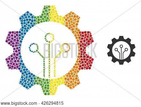 Gear Sensor Collage Icon Of Circle Spots In Various Sizes And Spectrum Color Tones. A Dotted Lgbt-co