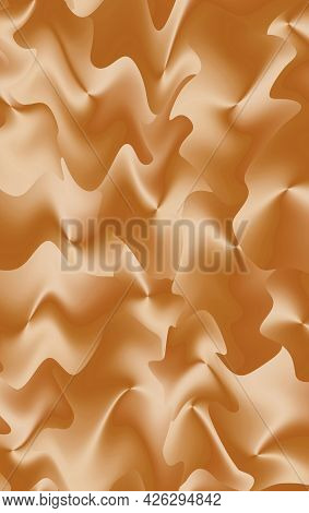 Gradient Golden Brown Futuristic Wavy Pattern For Abstract Background, 3d Illustration
