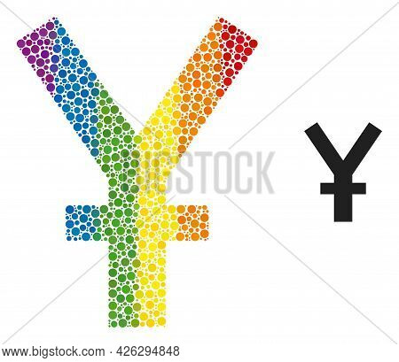 Yuan Currency Mosaic Icon Of Spheric Blots In Various Sizes And Spectrum Colored Color Tones. A Dott