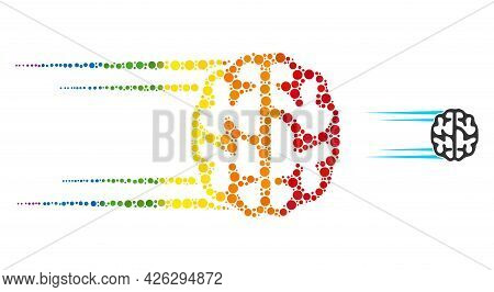 Rush Brain Collage Icon Of Spheric Dots In Various Sizes And Rainbow Bright Color Tinges. A Dotted L