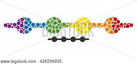Connected Dots Line Collage Icon Of Filled Circles In Variable Sizes And Rainbow Colored Color Tinge