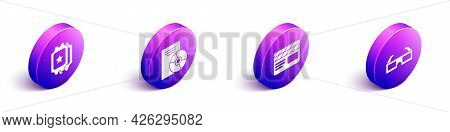Set Isometric Cinema Ticket, Cd Or Dvd Disk, Movie Clapper And 3d Cinema Glasses Icon. Vector