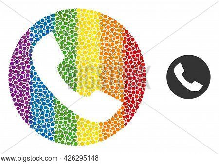 Phone Mosaic Icon Of Circle Elements In Variable Sizes And Rainbow Colored Color Tinges. A Dotted Lg