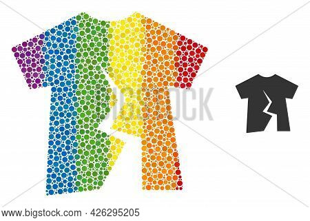 Torn T-shirt Collage Icon Of Spheric Dots In Variable Sizes And Rainbow Colored Shades. A Dotted Lgb