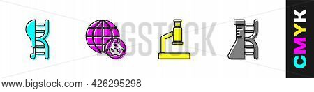 Set Genetically Modified Chicken, Gmo, Microscope And Dna Research, Search Icon. Vector