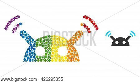 Robot Radio Signal Mosaic Icon Of Spheric Dots In Different Sizes And Rainbow Colored Color Hues. A