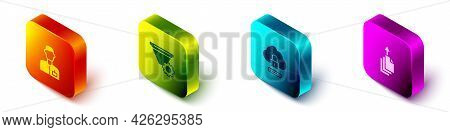 Set Isometric Analyst Engineer, Filter Setting, Cloud Computing Lock And Data Export Icon. Vector