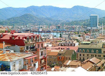 Aerial View Of The Port Of Batumi Area On Black Sea's Coast, Batumi City, Adjara Region, Georgia
