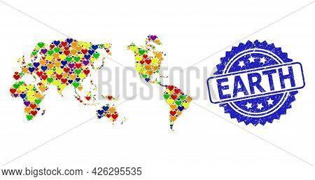 Blue Rosette Distress Seal Imprint With Earth Caption. Vector Mosaic Lgbt Map Of Earth Of Love Heart