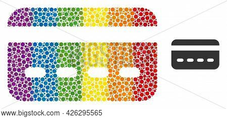 Credit Card Mosaic Icon Of Spheric Dots In Various Sizes And Rainbow Colorful Color Tints. A Dotted
