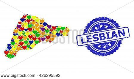 Blue Rosette Scratched Seal Stamp With Lesbian Title. Vector Mosaic Lgbt Map Of Easter Island Of Lov