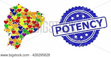 Blue Rosette Textured Seal Imprint With Potency Phrase. Vector Mosaic Lgbt Map Of Ecuador From Lovel