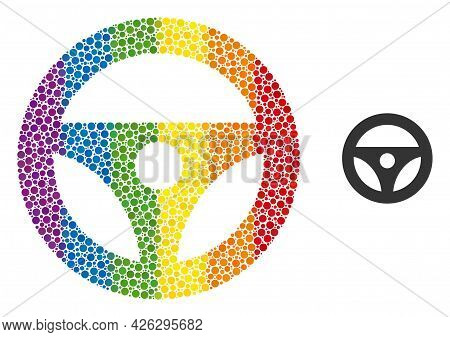 Car Steering Wheel Mosaic Icon Of Spheric Blots In Various Sizes And Spectrum Colored Color Hues. A