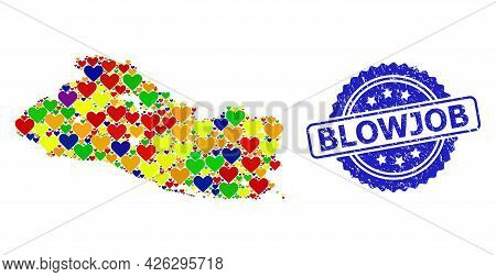 Blue Rosette Grunge Seal Imprint With Blowjob Phrase. Vector Mosaic Lgbt Map Of El Salvador With Lov
