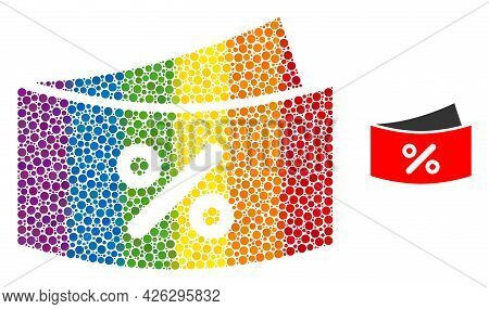 Discount Coupones Collage Icon Of Spheric Blots In Variable Sizes And Rainbow Colored Color Tones. A