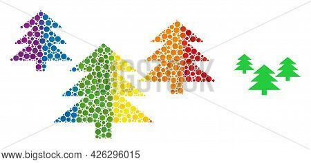 Fir Tree Forest Composition Icon Of Round Dots In Different Sizes And Spectrum Multicolored Color Ti