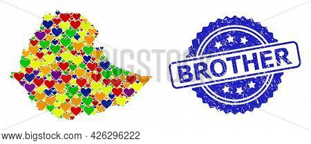 Blue Rosette Distress Seal With Brother Title. Vector Mosaic Lgbt Map Of Ethiopia Of Lovely Hearts.