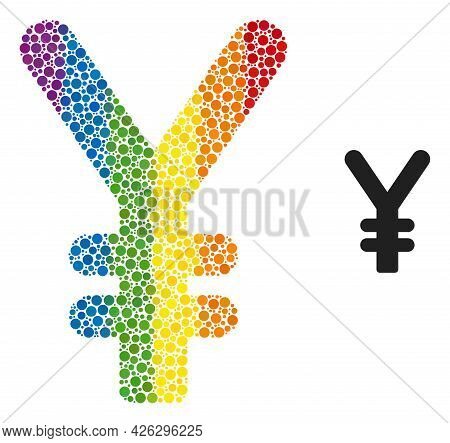 Yen Currency Composition Icon Of Filled Circles In Different Sizes And Rainbow Colored Color Tones.